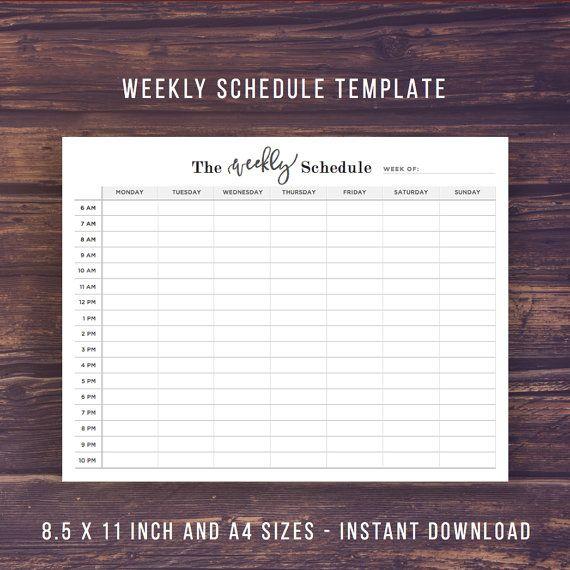 Weekly Schedule Printable Weekly Planner  Weekly Planner