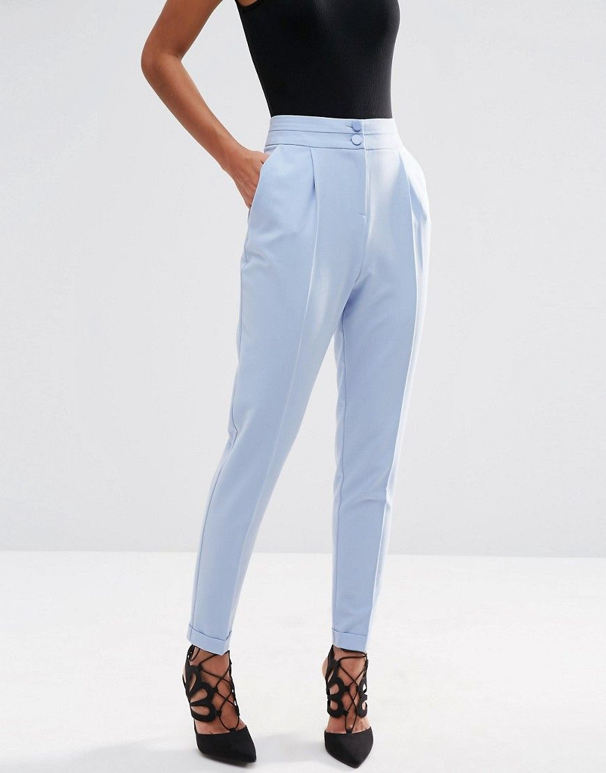 Tailored High Waisted Pants With Turn Up Detail