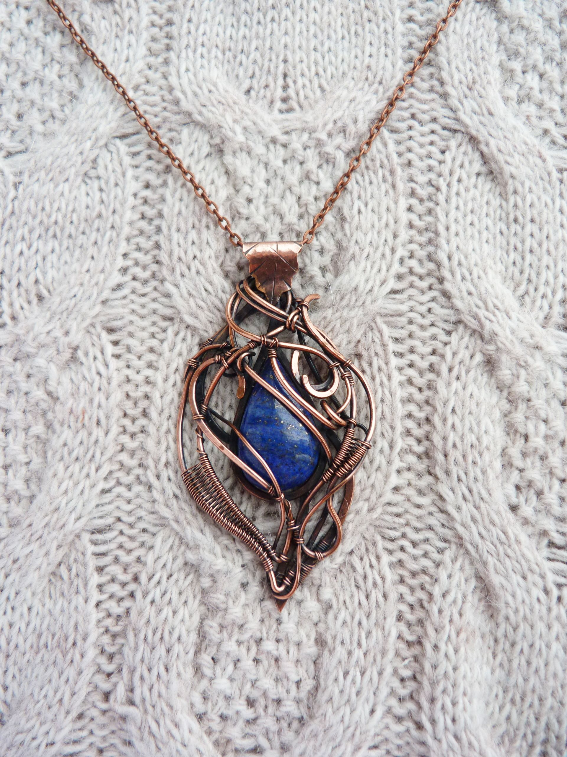 Lapis lazuli copper necklace - wire jewelry - Elegant rich gift for ...