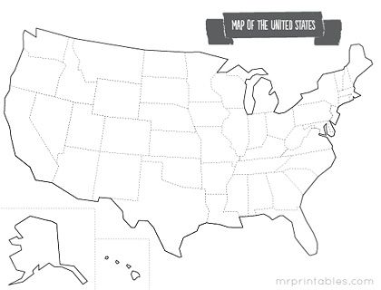 Printable Blank Map Of Us Printable Map of The USA   Mr Printables | Printable maps, United