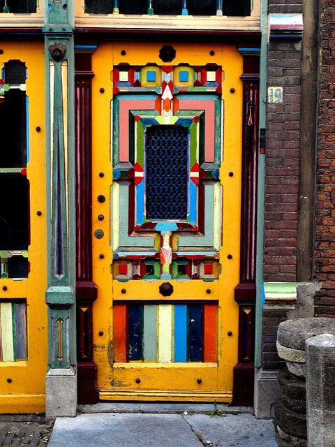 Multi-Colored Door Leiden South Holland The Netherlands / photo by Tim van Kempen & Door of colour | Doors Leiden and Vans
