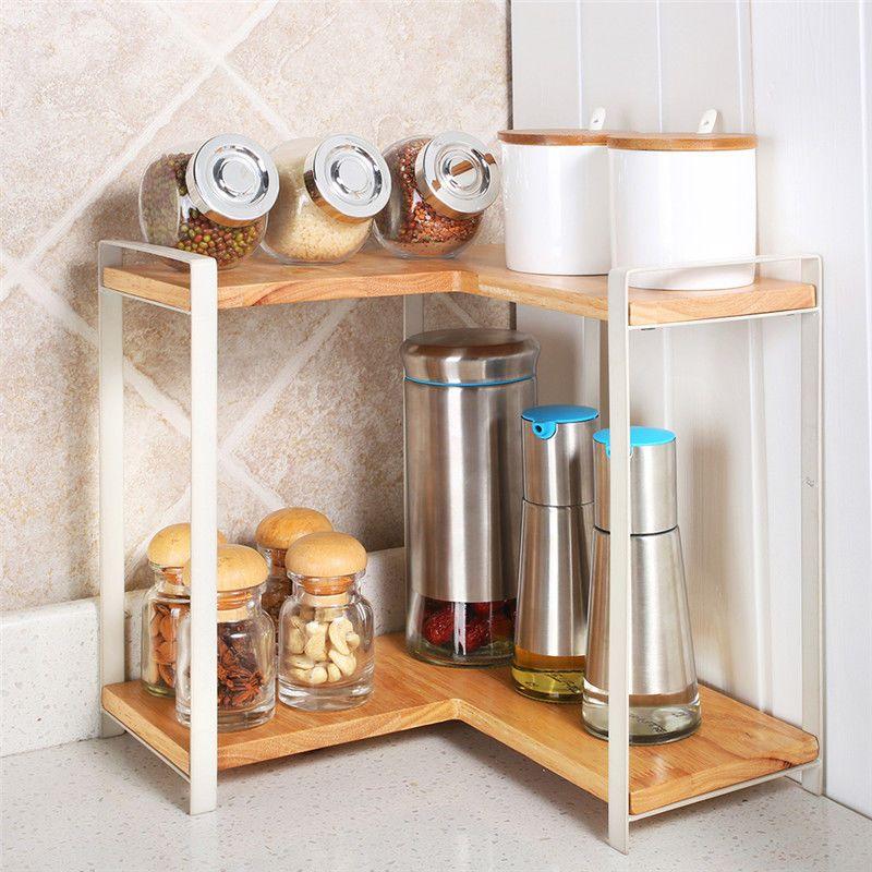 Two Layers Solid Wooden Spice Jar Rack Cabinet Shelf Storage Rack Corner Kitchen Storage Shelves Shelves Storage Rack