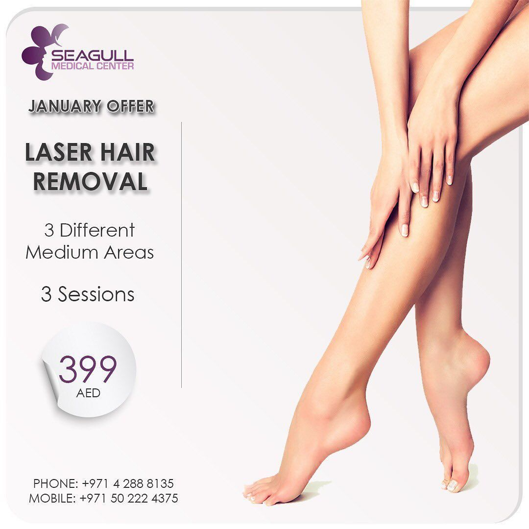 Laser Hair Removal Any 3 Different Medium Areas = 399 AED