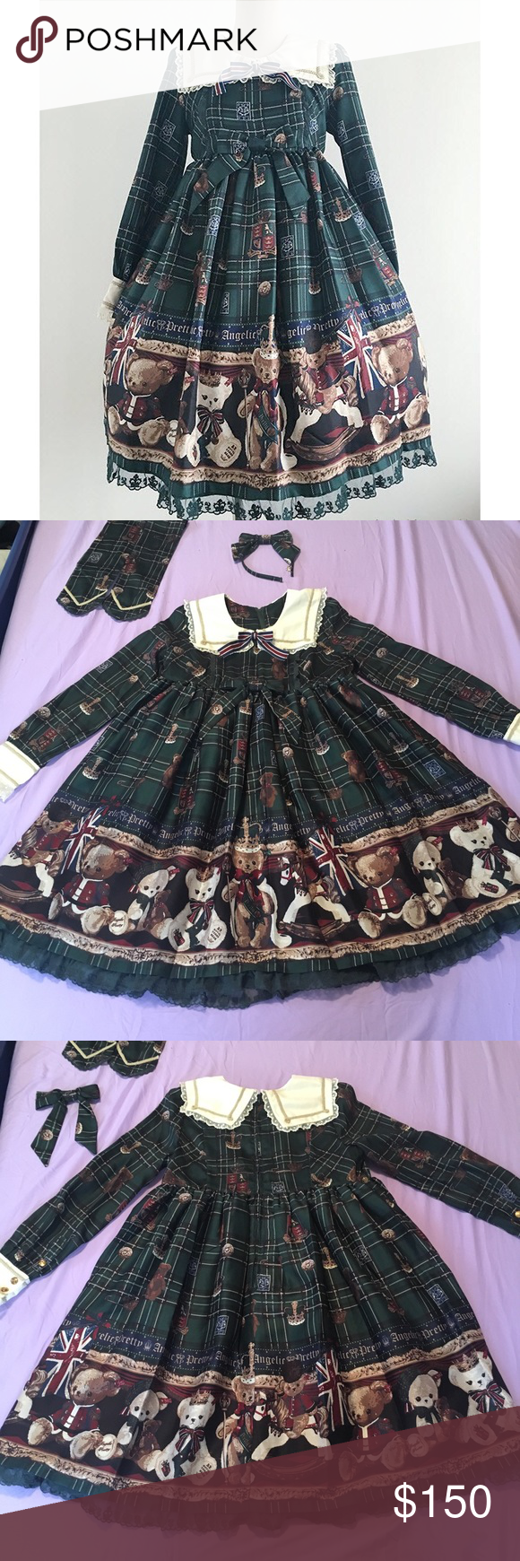 AP British Bear Inspired Lolita Dress Inspired/non authentic lolita dress made to resemble Japanese lolita brand Angelic Pretty's British Bear OP in green. Comes with waist ties and matching KC headbow. Full description including damage is disclosed in the last photo as it was much too long to fit here. kawaii japanese cute princess classic sweet rare lovely dolly Cutie Princess Doll Dresses