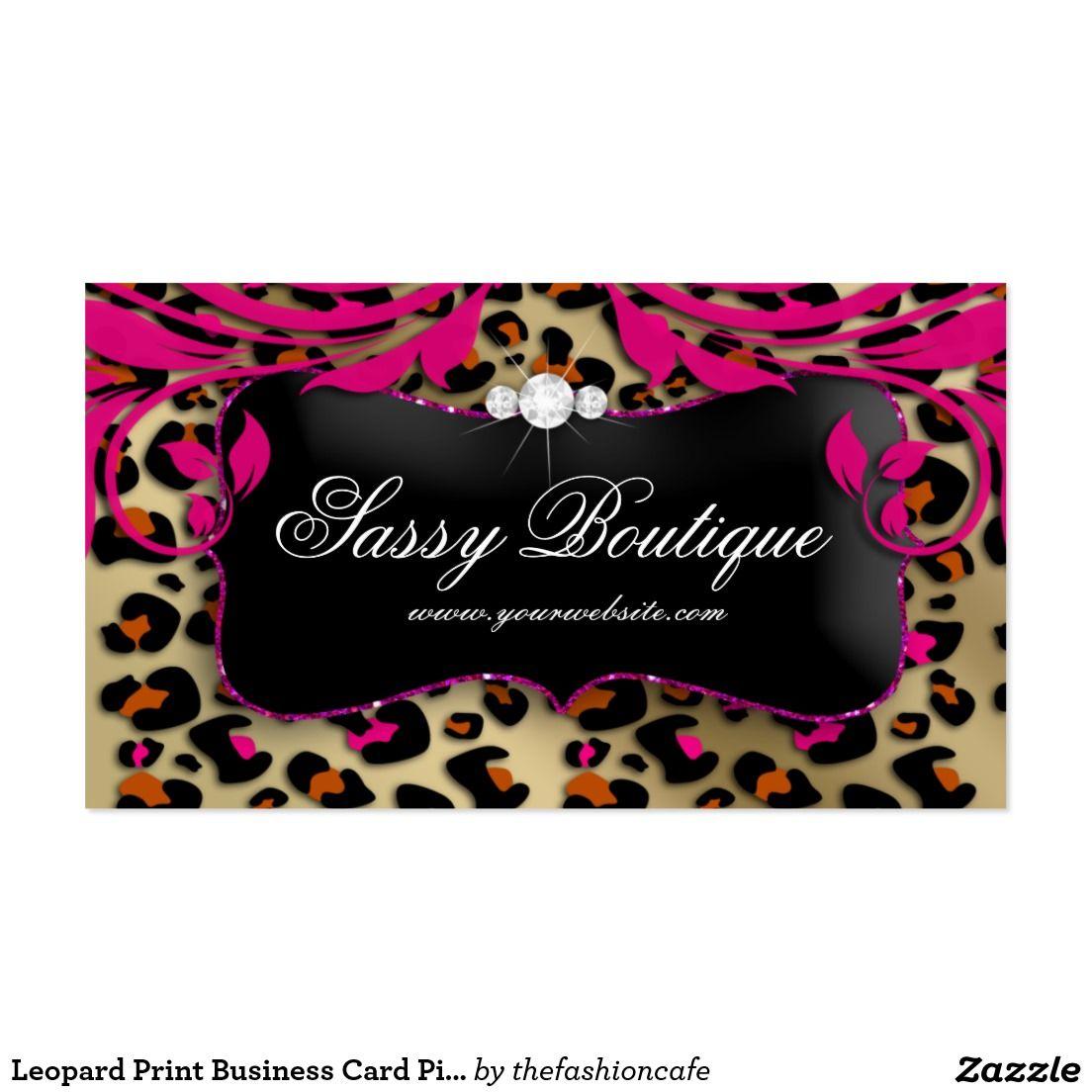 Leopard Print Business Card Pink Swirls Jewelry   Professional ...