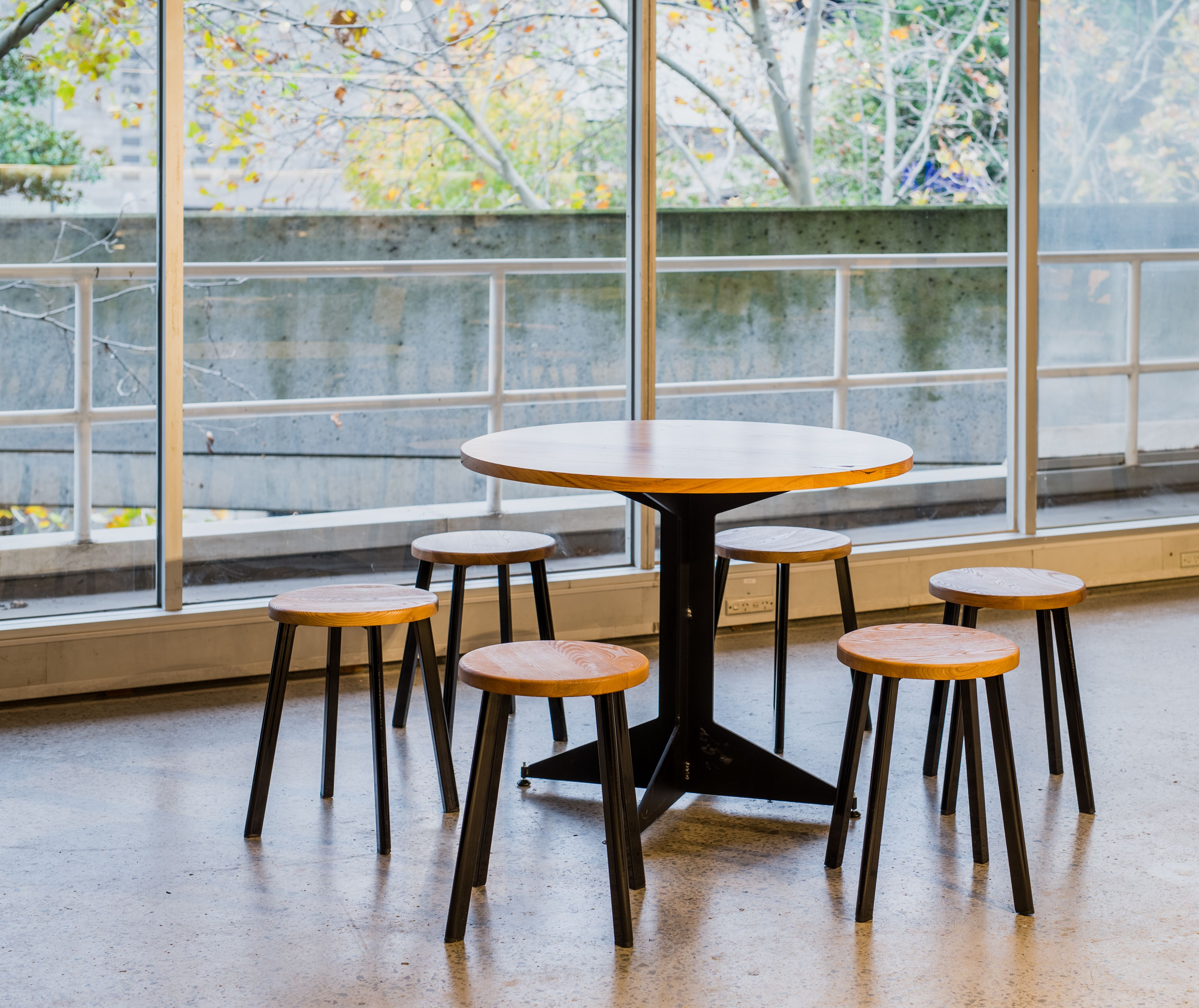 The Willow Stool also complemented this trio in a natural timber finish with the black gloss powder-coated frame. The backless design is perfect for those dining in their tutus.  http://www.prototype.net.au/projects/acmi.html