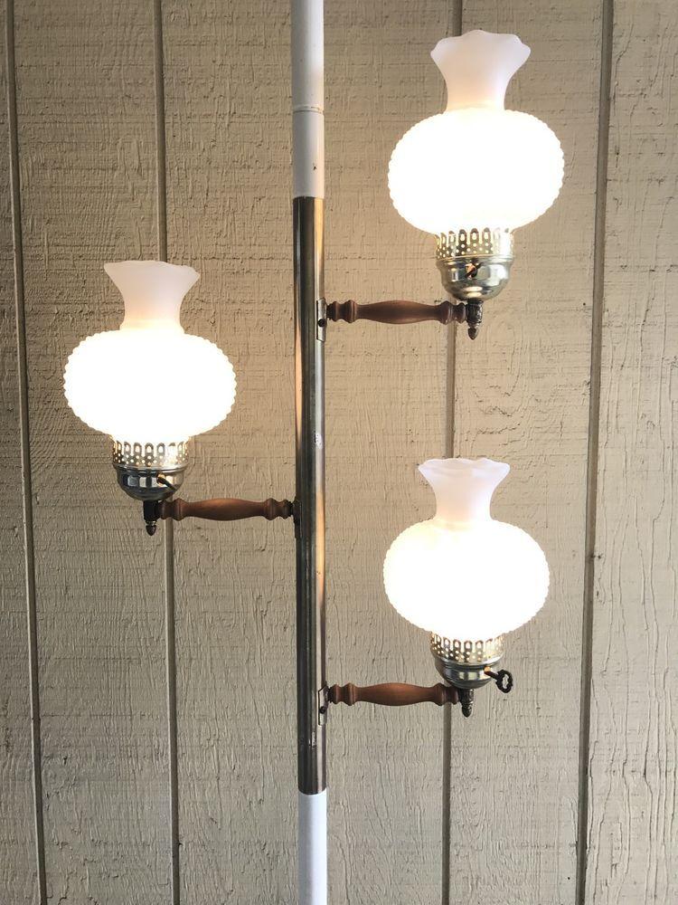 Mid Century Early Americana Tension Pole Floor Lamp w/ 3