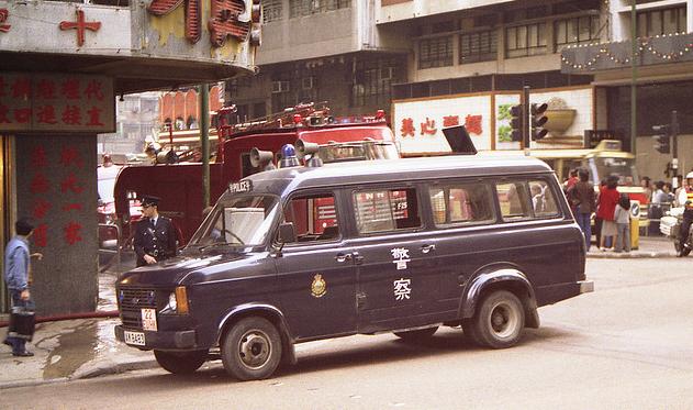 Police vehicles in Hong Kong