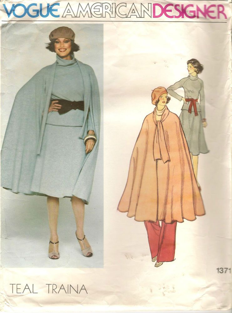 70s Vogue Designer Sewing Pattern 1371 Teal Traina Cape Skirt Top