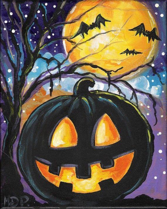 2 halloween vintage style pumpkin spider original paintings - Halloween Pictures To Paint