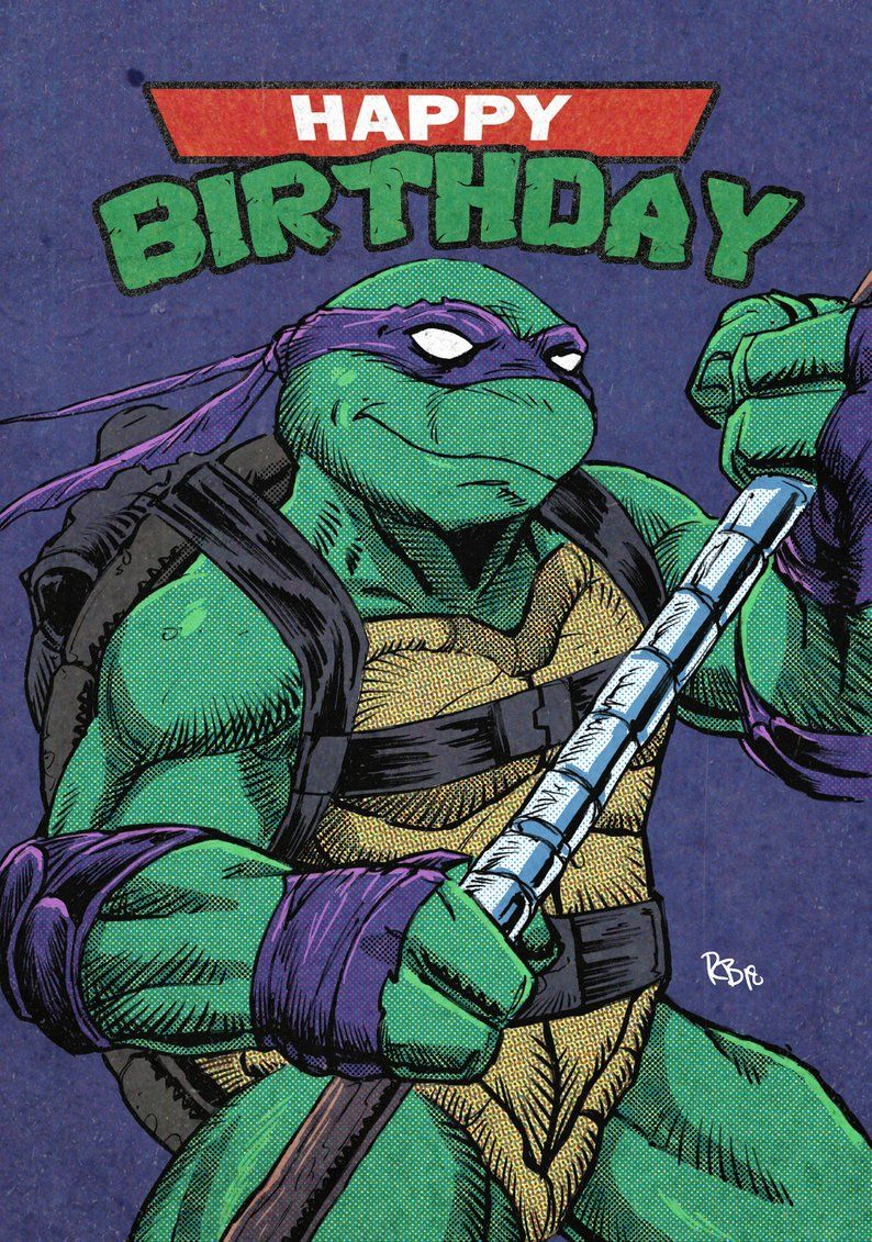 Ninja Turtles Donatello Comic Birthday Card Donatello Ninja Turtle Ninja Turtle Birthday Retro Comic