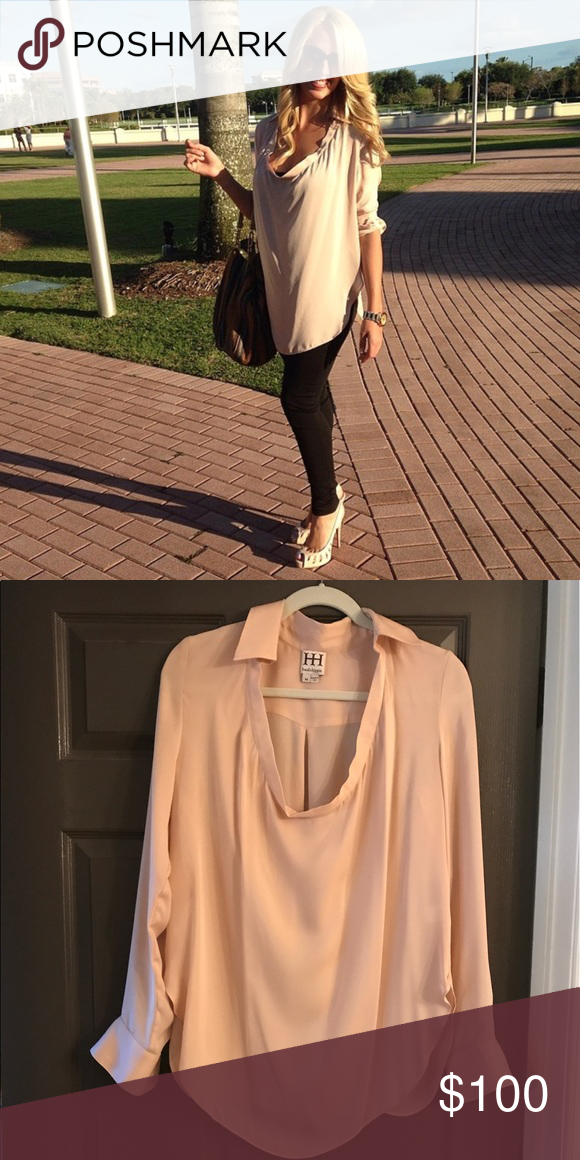 Haute Hippie blush scoop neck blouse Size medium blush scoop neck satin blouse made by Haute Hippie. Worn once. Haute Hippie Tops Blouses