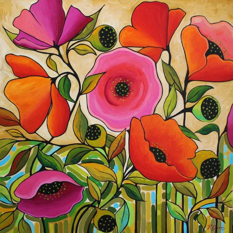 "Saatchi Art Artiste Peggy Davis;  Peinture, #art ""Poppy Résumé"""