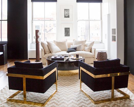Urban Chic Manhattan Loft Gold Living Room Interior House Interior