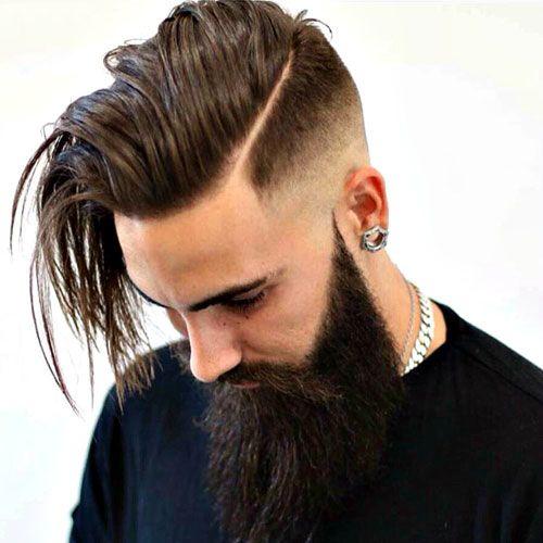 Long Hard Part Comb Over Fade Full Long Beard Hard Part Haircut Beard Hairstyle Long Hair Styles