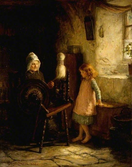 The Spinning Lesson  by Hugh Cameron    Date painted: 1885