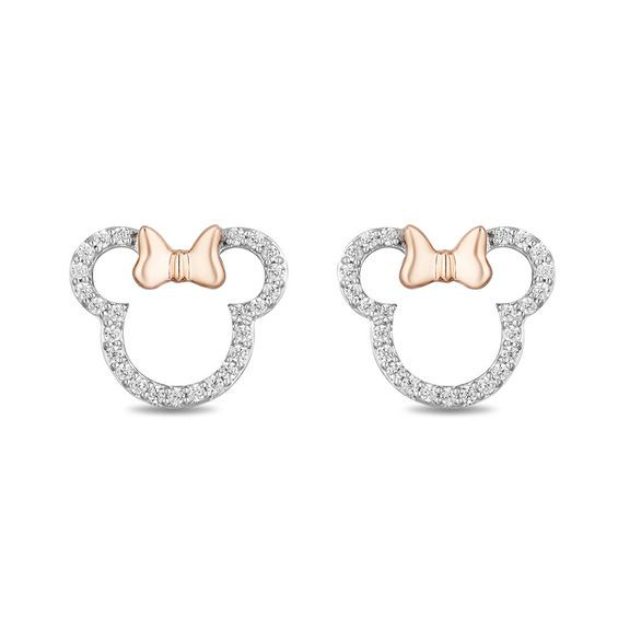 19d0408c4 Mickey Mouse & Minnie Mouse 1/5 CT. T.w. Diamond Outline Stud Earrings in Sterling  Silver and 10K Rose Gold