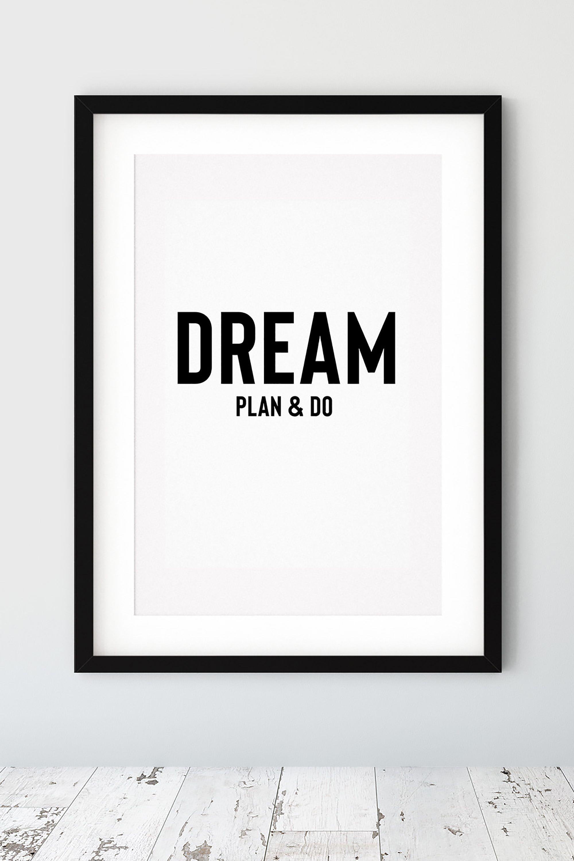 Dream Plan & Do Black and White Bedroom Printable Wall Art Decor