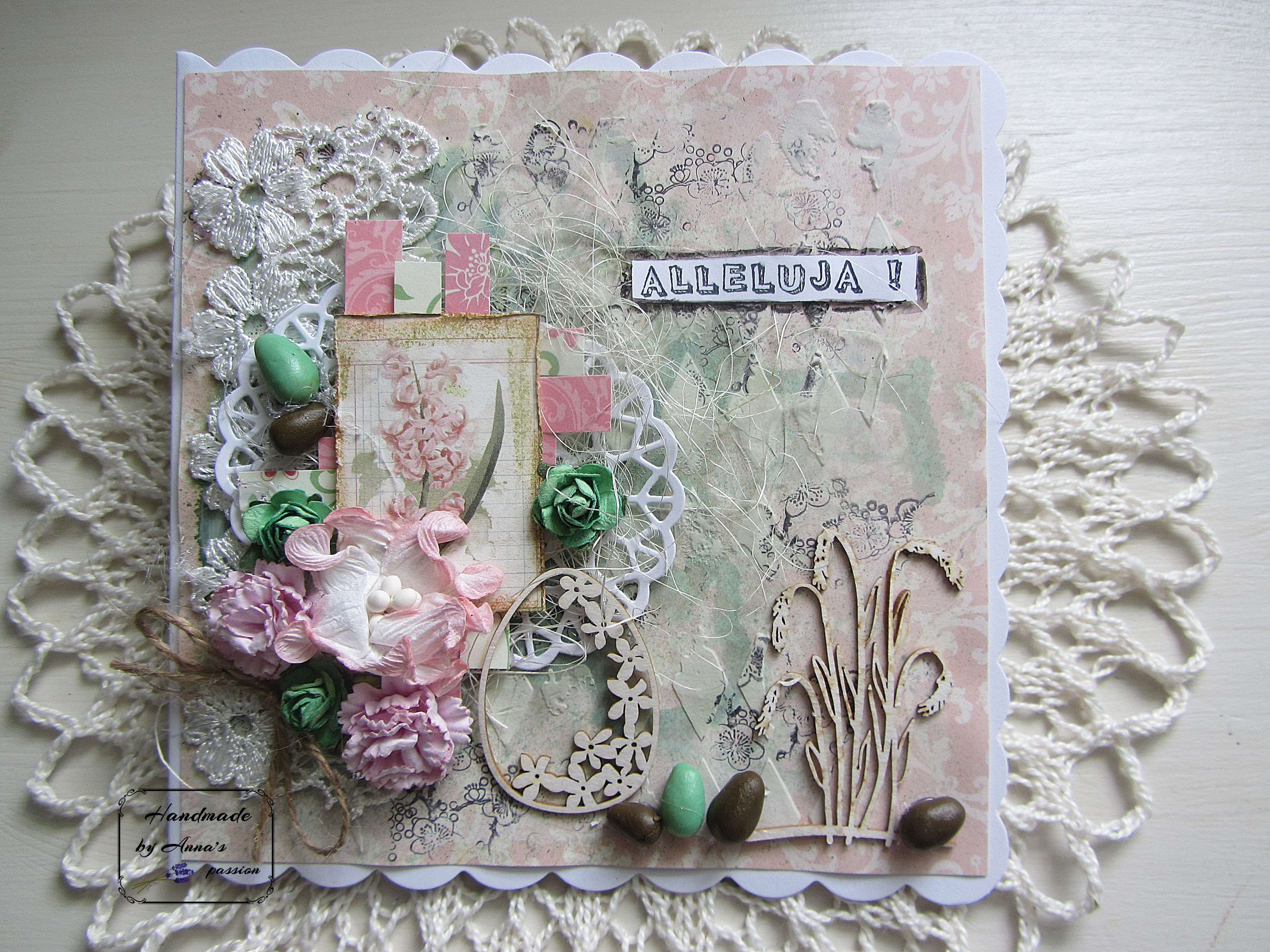 Mixed Media Easter card Mediowa kartka Wielkanocna  #mixedmedia #mixedmediaart #card #handmade #cardmaking #papermania #gesso #lindys #lindysstampgang #texturepaste #tcw #thecraftersworkshop #tcwstencillove #diecut #lace #tackyglue #bobunny #naturalsisal #paperstrips #paperflowers #fimo #eggs #ranger #archivalink #blossomstamp #scrapiniec #chipboards #ministampset