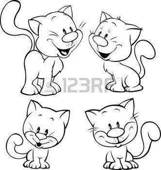 Susse Katze Schwarzer Umriss Illustration Auf Weissem Hintergrund