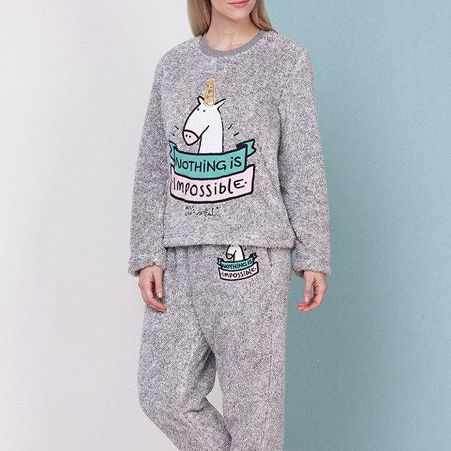 Unicorn Flannel Pajama Suit Sets Plush