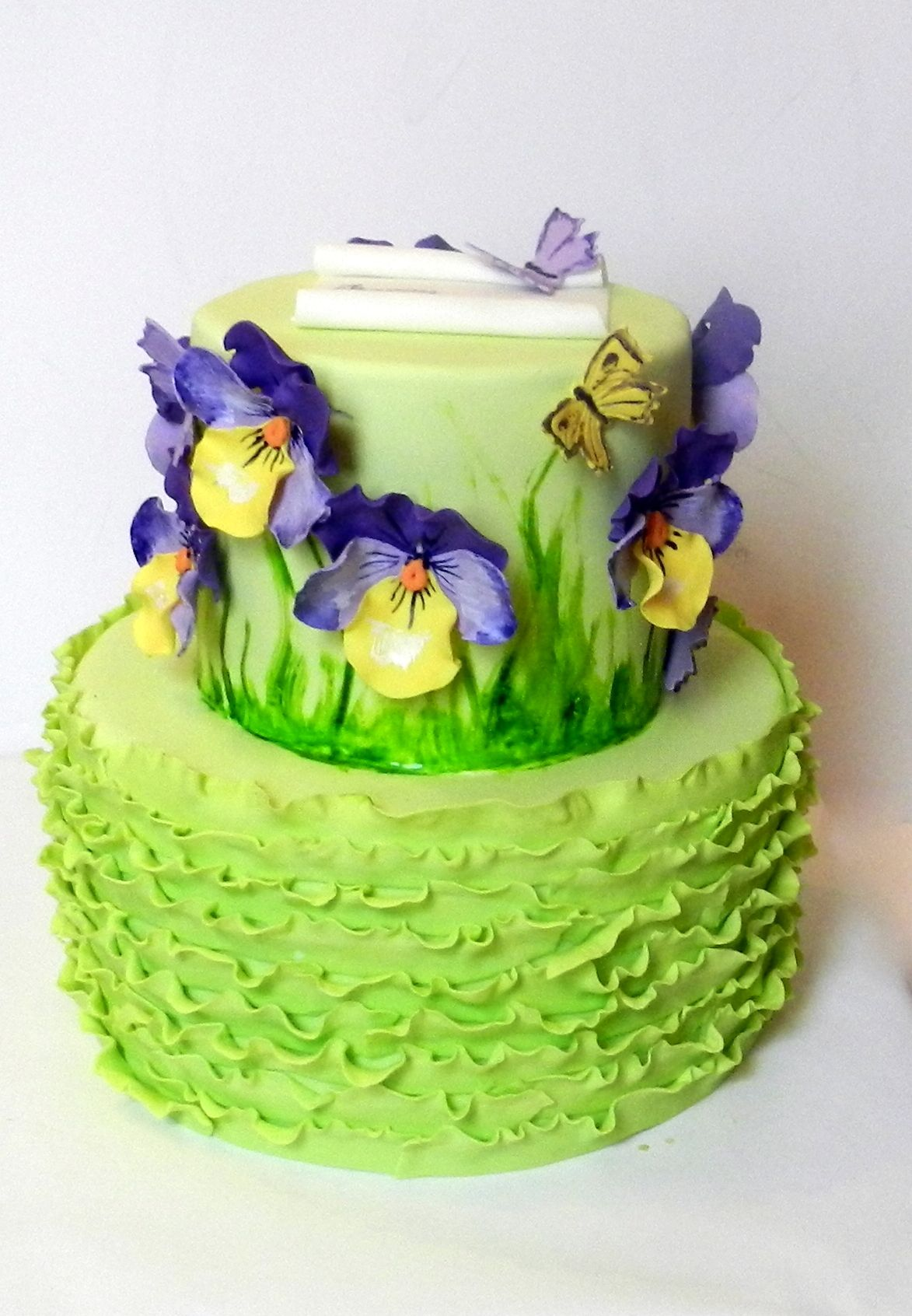 pansies mothers day cake