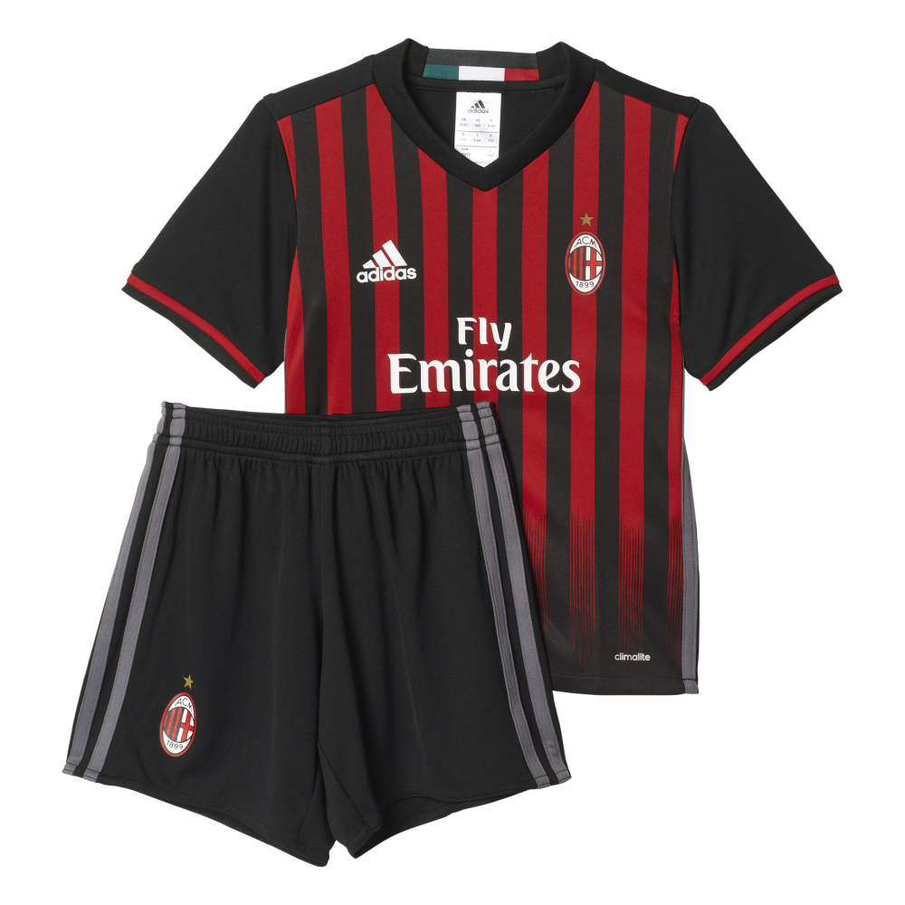 online retailer d6b06 6dfe5 Adidas AC Milan Home Mini-Kit 2016/2017 | Kids Football Kits ...