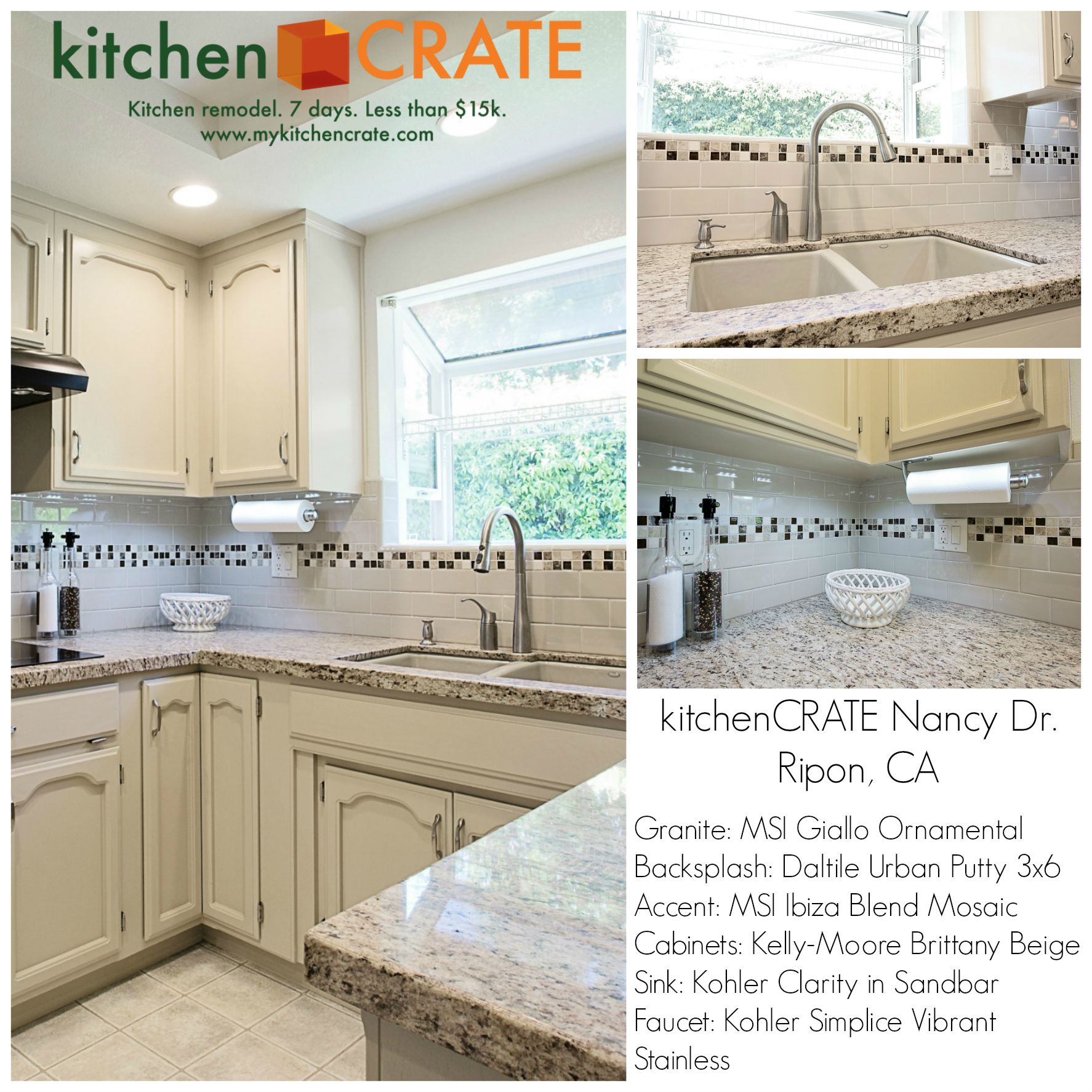 Dark Beige Kitchen Cabinets: Giallo Ornamental Granite And Kelly-Moore Brittany Beige