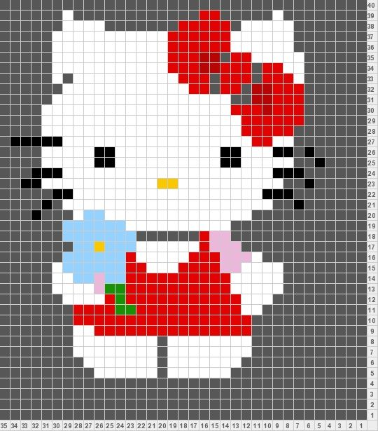 Knitting Pattern Hello Kitty : Tricksy Knitter by Megan Goodacre: Hello Kitty Knitting charts Pinterest ...