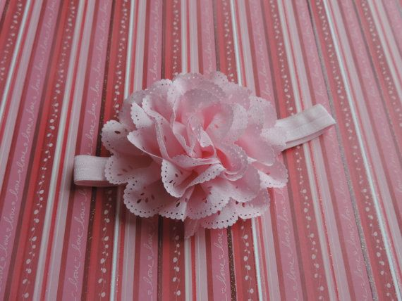 Satin pink eyelet flower on satin headband by JennieBlossoms
