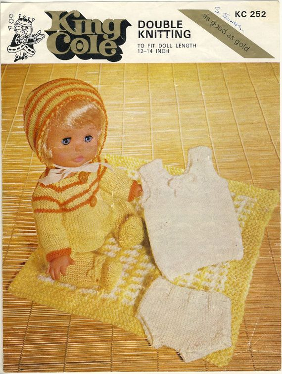 KING COLE double knitting pattern KC 252. 1960s - 70s. To fit doll ...