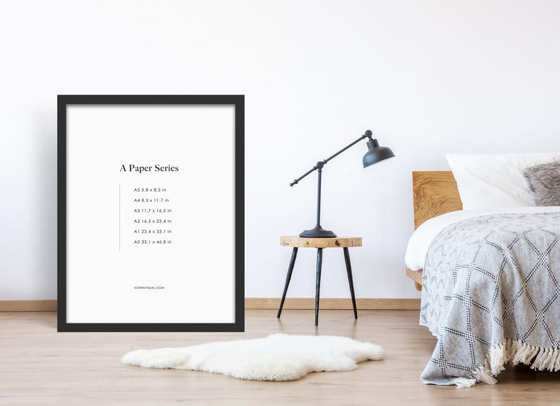 Frame Mockup 276 Black Frame On Floor Mockup Bedroom Mockup A4 Wall Art Display Psd Smart Object In 2020 Frame Mockups Scandinavian Frames Boho Frame