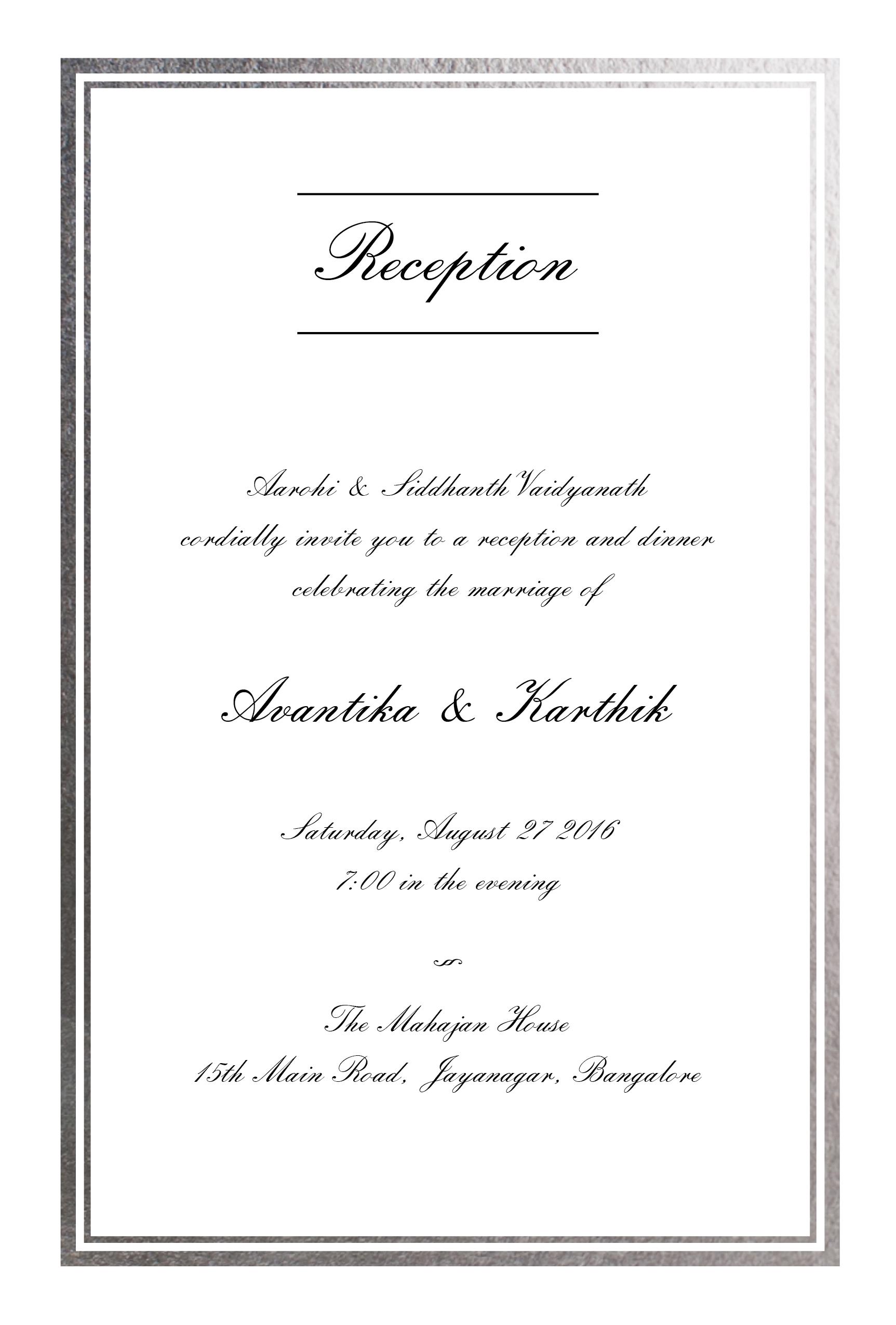 Very elegant silver border reception invitation designer wedding very elegant silver border reception invitation stopboris Image collections