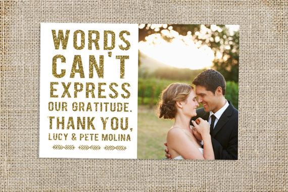 Glitter Wedding Thank You Card Design WEDDING Thank you card