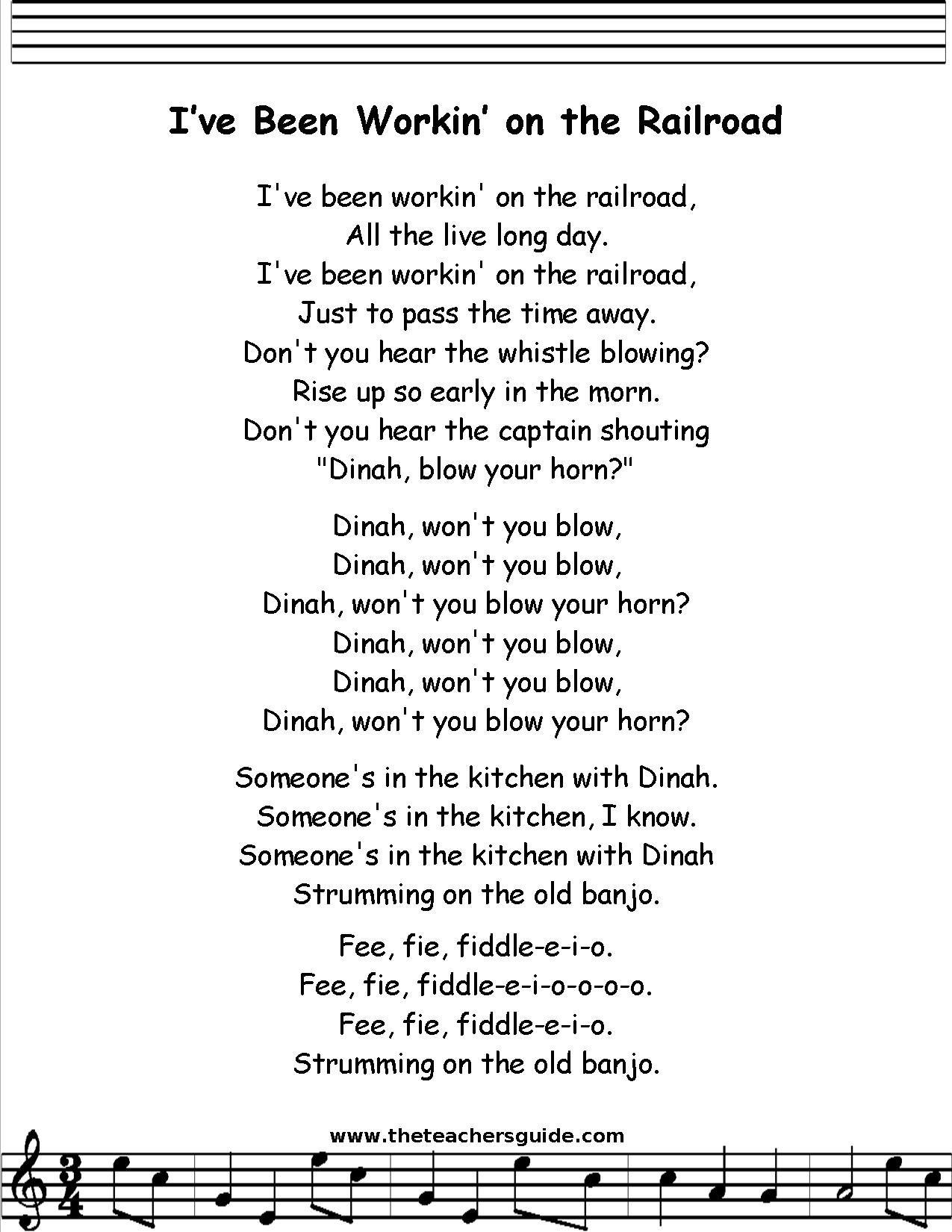 I Ve Been Working On The Railroad Lyrics Printout
