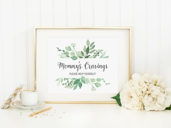 Greenery Mommy S Cravings Sign Printable Green Foliage Baby Shower