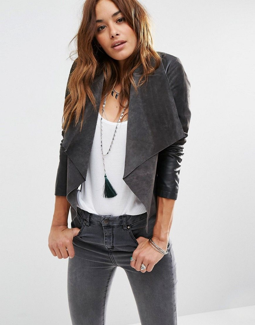 ASOS Waterfall Jacket in Patched Suede and Leather at asos