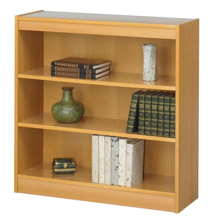 Square Edge Bookcase W 3 Shelves In Light Oak Finish .75