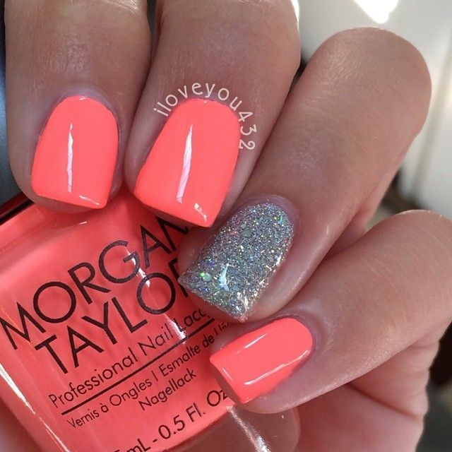 Love This Color For Summer With Images Coral Nails Gel Nail