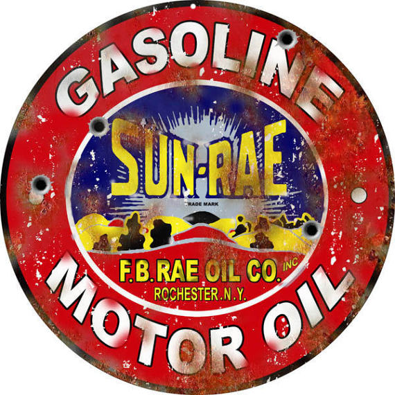 Sun Rae Gasoline Motor Oil Aged Style Aluminum Metal Sign 2 Sizes