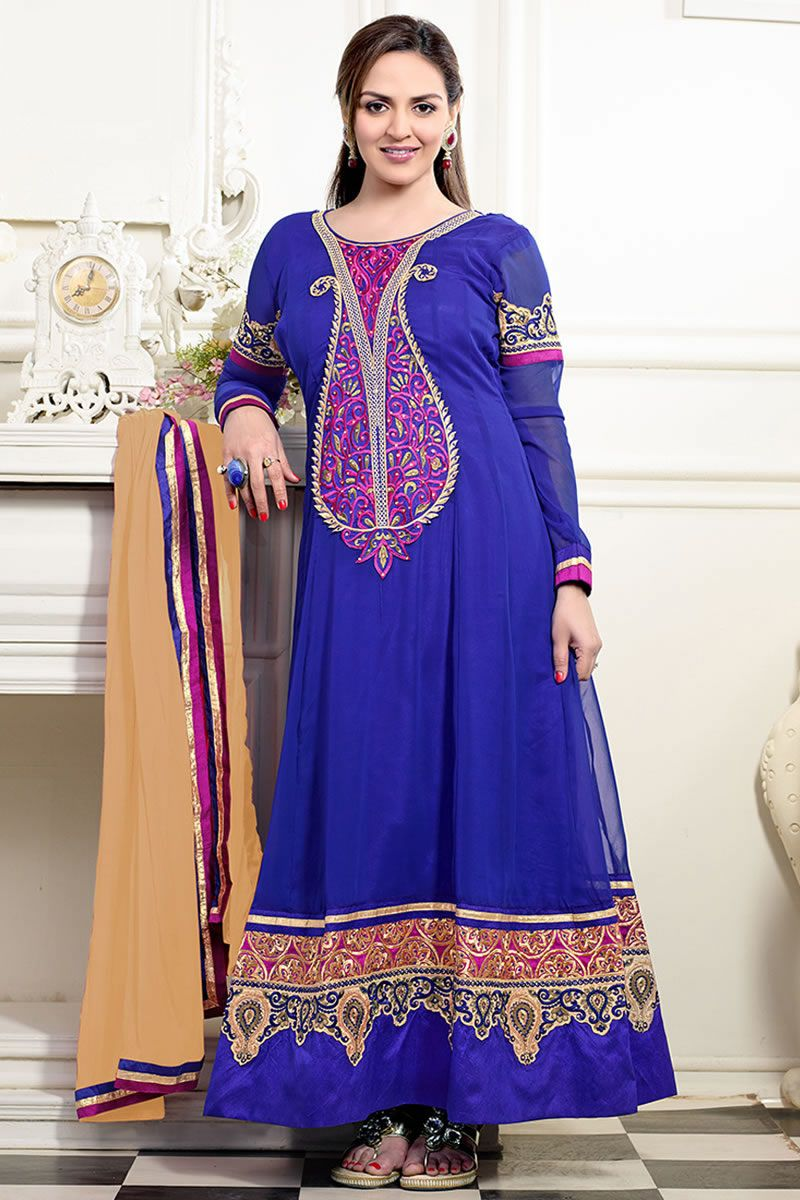 Blue color gorgeous long anarkali salwar kameez long anarkali