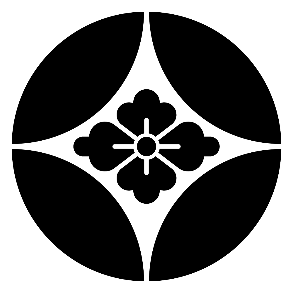 七宝紋の一種 家紋 七宝に花菱のepsフリー素材 セメントアート 家紋 七宝