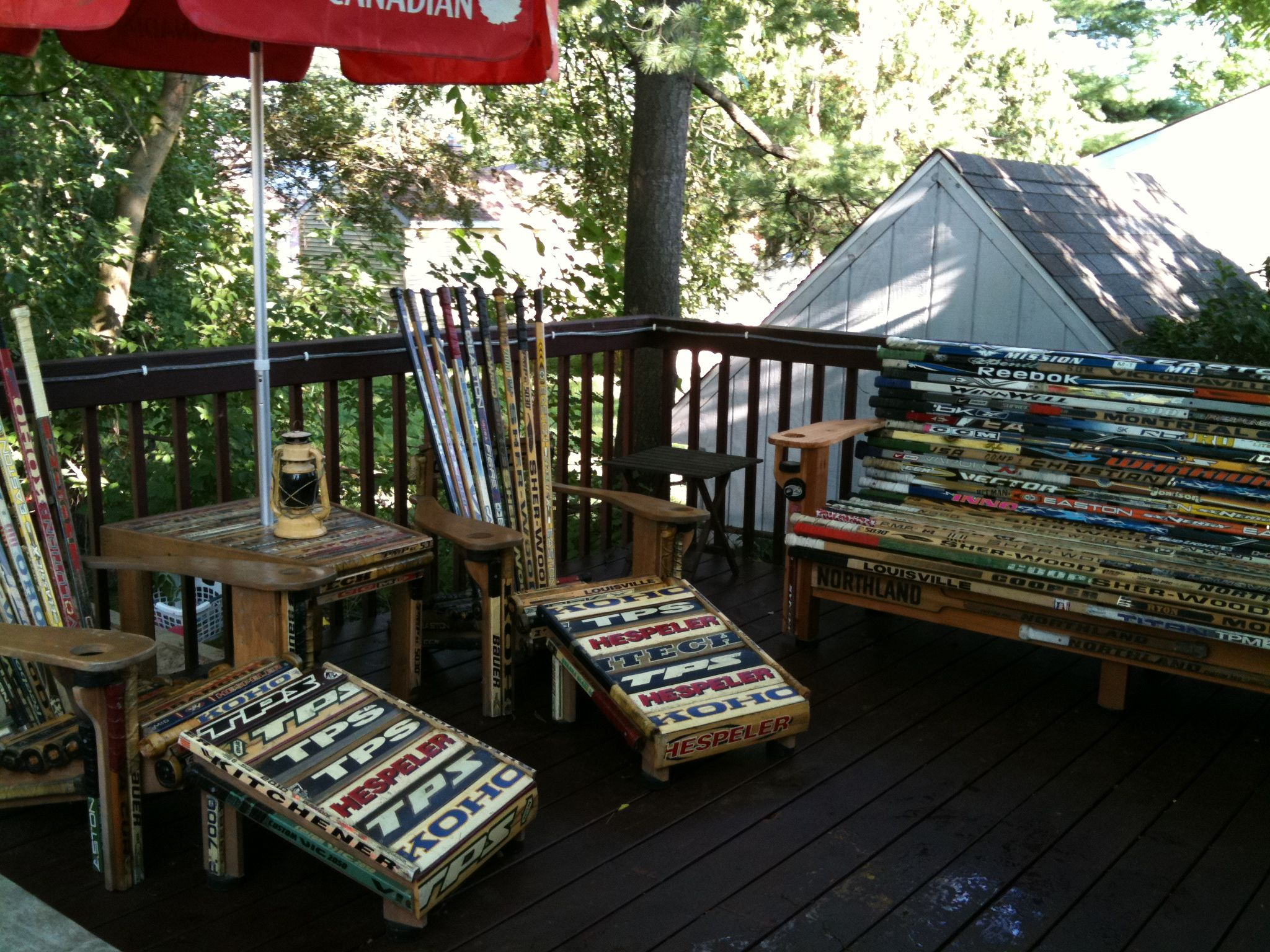 Bench, Chairs, Ottoman And Table All Made From Hockey Sticks