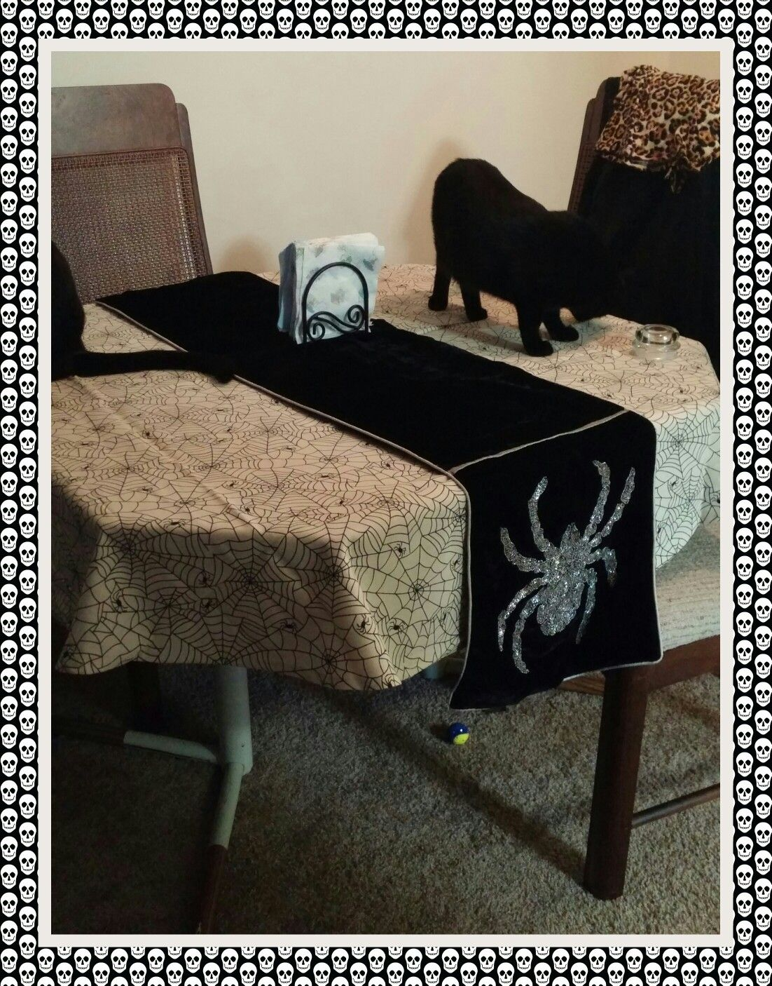 My table cloth nd runner for #Halloween from marshals HomeGoods 💕 trying to make my home more money