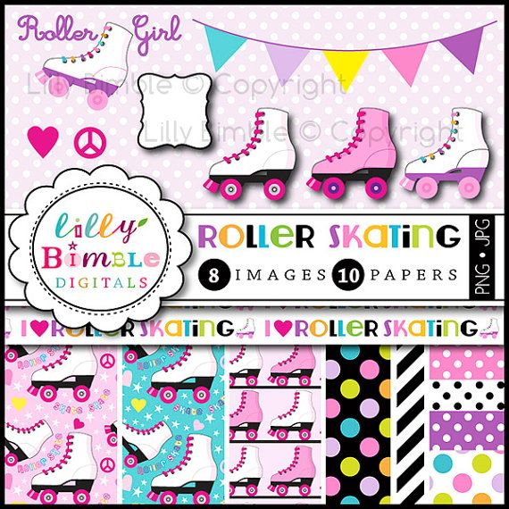 Roller Skating clipart digital scrapbook papers for birthday party ...