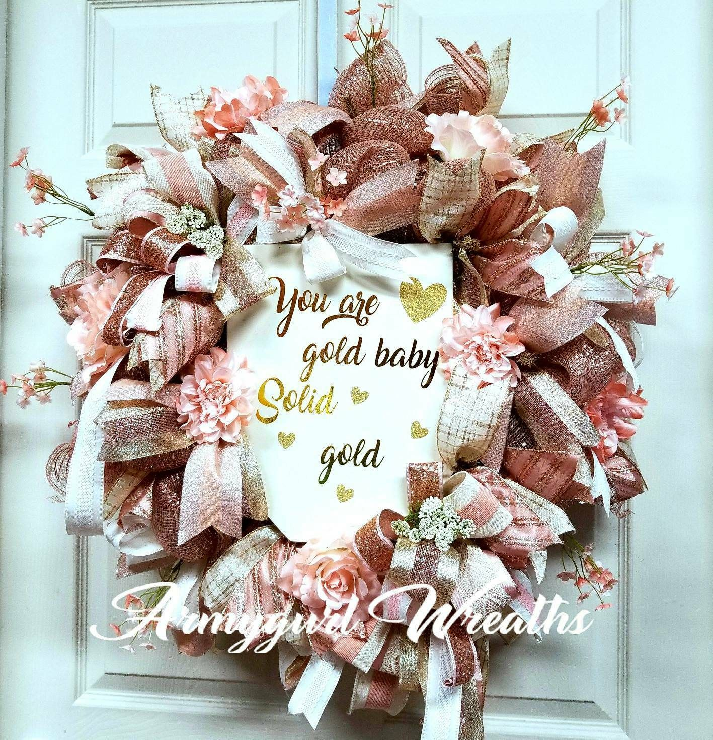 Valentine S Day Wreath Valentine S Deco Mesh Wreath Gold And Rose