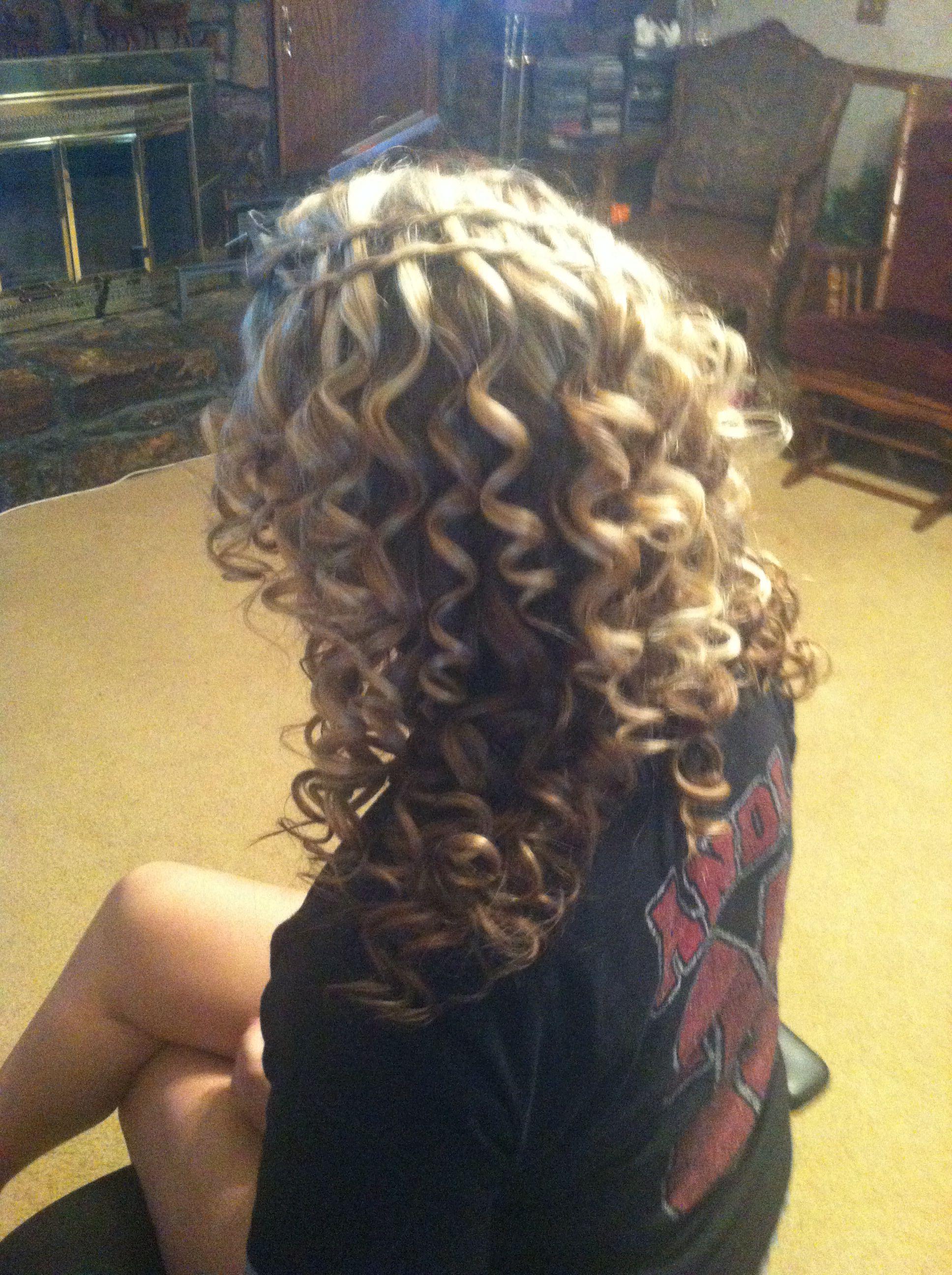 Prom hair curls braid down very very curly love it prom hair