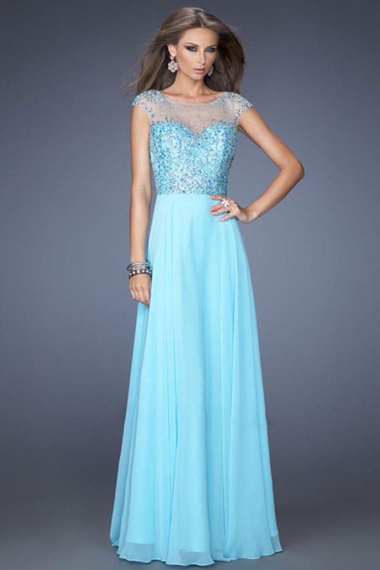 wonderful scoop neckline beaded bodice a line sweep train with