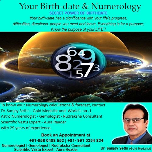 Your birth-date has significance with your life's progress, difficulties, directions, people you meet and leave. To know your numerology calculations and forecast Contact Dr. Sanjay Sethi-– Gold Medalist and World's no .1 #AstroNumerologist - #Gemologist - #RudrakshaConsultant - #ScientificVastuExpert - #AuraReader with 29 years of experience. Consult at 91-9560498552, 91-9910354834 Visit our website: www.purelifebysan..., www.pure-life.in Email id: purelifegems@gmai...
