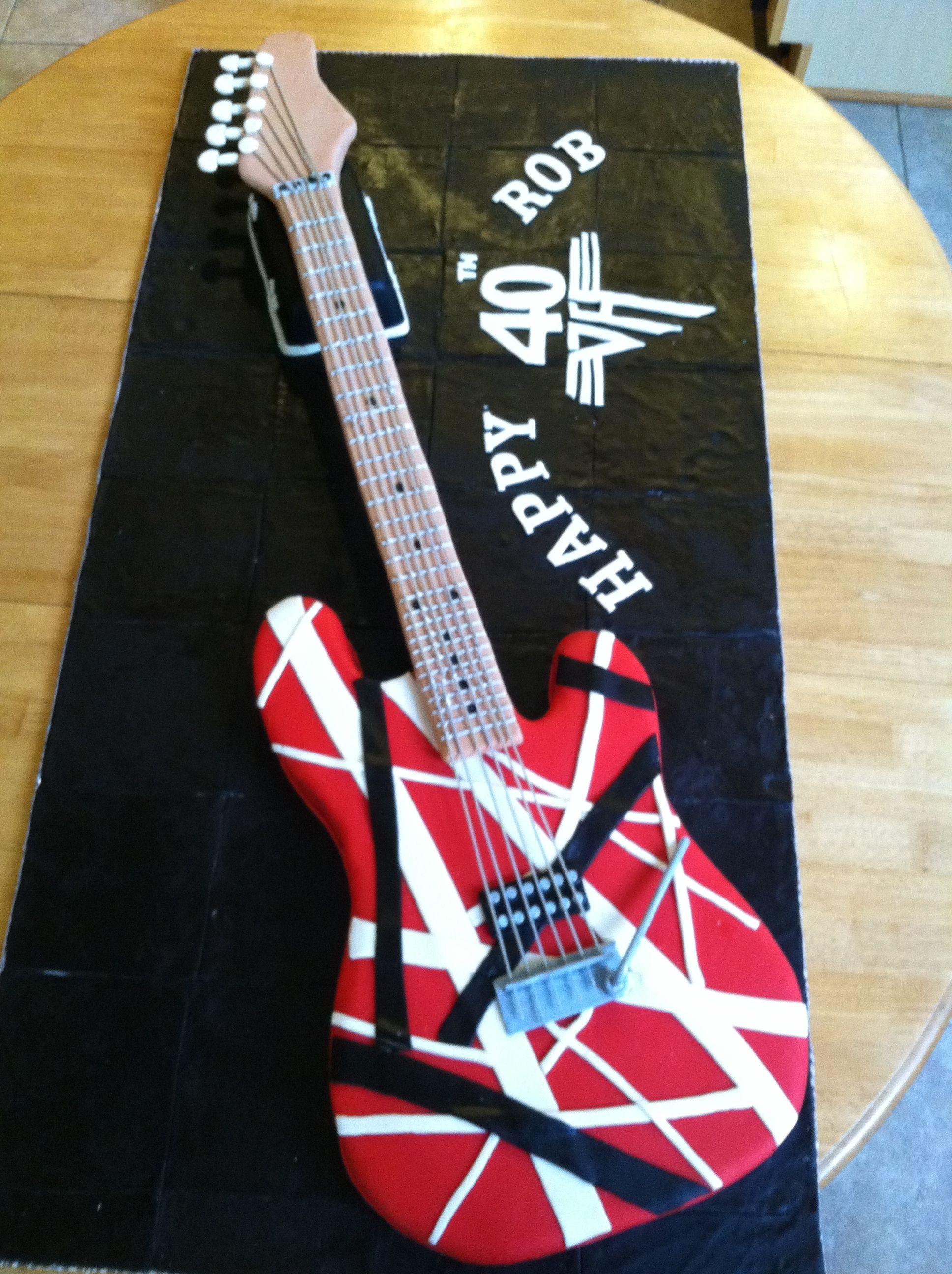 Van Halen Birthday Cake 3 Guitar Cake 40th Birthday Cakes Van Halen